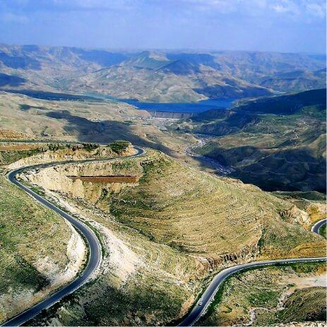 Jordanie Barrage de Wadi Al Mujib et la route du Roi
